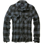 BRANDIT CLASSIC COTTON CHECK FLANNEL TOP MENS LONG SLEEVE WORK SHIRT BLACK GREY