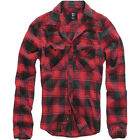 BRANDIT MENS CASUAL CHECK COTTON FLANNEL SHIRT LONG SLEEVE WORK TOP RED BLACK