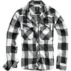 BRANDIT CLASSIC CHECK COTTON FLANNEL WORK SHIRT MENS LONG SLEEVE TOP WHITE BLACK