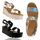 Ladies Wedge Heel Womens Chunky Flatform Sandals Platform Shoe Size UK 3 4 5 6 8