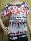 AB STUDIO Beaded Open Back Blouse Tribal Print Boat Neck Top Women's Sz XS S New