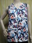 SIMPLY VERA WANG Sahara Rose Watercolor Tie Neck Sleeveless Blouse Petites PS PM