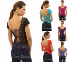 PattyBoutik Corset Embroidered Lace Up Back Cap Sleeve Top