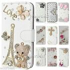 Luxury Flip Bling Crystal PU Leather Card Wallet Case Stand Cover For LG Phones