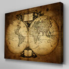 C359 Vintage World Map Canvas Wall Art Ready to Hang Picture Print