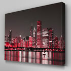 C343 Red New York City Canvas Wall Art Ready to Hang Picture Print