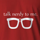 New Geek T-shirt Talk Nerdy To Me black nerd thick lensed glasses suspender