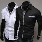 Gentleman Mens Casual Shirts Slim Fit Luxury Short Sleeve Dress Shirts Tops S~XL