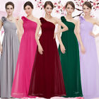 US Long Women's Bridesmaid Dresses Chiffon One Shoulder Homecoming Gowns 08237