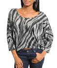 Black & Grey Asymmetric Batwing Sleeves Strappy Back Top Size S, 8/10