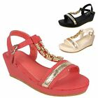 GIRLS SANDALS KIDS WEDGE HEEL DIAMANTE SUMMER DIAMANTE FLOWER BEACH SHOES SIZES