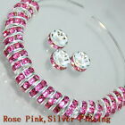 100p Czech Crystal Rhinestone Gold/Silver Rondelle Spacer Beads 4,5,6,8,10mm