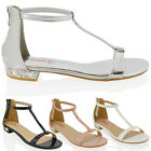 WOMENS DIAMANTE FLAT LOW HEEL SANDALS LADIES EVENING ANKLE STRAP PARTY SHOES 3-8