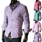 Summer Men's Long Sleeve Plaid Shirt Casual Formal Slim fit Dress Shirts T Shirt