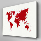 AB047 Red World Map Canvas Wall Art Ready to Hang Picture Print Large