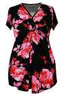 New Ladies Black Pink Floral Brooch Tunic Top Sizes 16 - 26