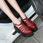 Roman Style Hollow T-strap PU Leather Wedge Platform Ankle Strap Women Shoes SZ