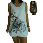 Rabbit Bunny Cute Print Vest Tank-Top Singlet (T-Shirt Dress) Sizes S M L XL
