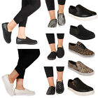Womens Flat Skater Slip On Plimsolls Casual Trainers Ladies Pumps Shoes plimsole