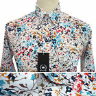 Relco Mens FLORAL FLOWER Abstract Shirt NEW Long Sleeve Mod Retro Vintage White