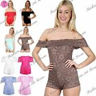 Womens Ladies Frill Floral Lace Off The Shoulder Bardot Romper Jumpsuit Playsuit