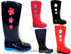 WOMENS FLAT FESTIVAL WELLIES DAISY GLOSS WELLINGTONS WATERPROOF RAIN BOOTS