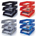 Letter File Trays Foolscap A4 Plastic FREE Metal Risers Office Desk Files Tidy