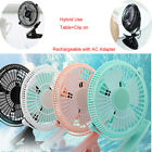 """5""""Inch CLIP ON Rechargeable Table Desk Fan Air Cooling Home Office Fan +Adapter"""