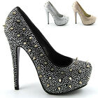 WOMENS PLATFORM STILETTOS HEELS DIAMANTE LADIES SATIN SPIKED COURT SHOES 3-8