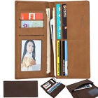 Mens Genuine Leather Bifold Wallet Credit ID Card Holder Long Coin Clip Purse
