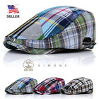 Plaid Ivy Hat Cotton Buckle Gatsby Cap Mens Golf Driving Summer Sun Flat Newsboy