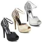 KISS & TELL AILIE-41 Women Cut Out Peep Toe Stiletto Ankle Strap D'orsay Sandals