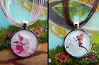 FAIRY SILHOUETTE PENDANT NECKLACE GLASS DOME FAIRIES CABOCHON
