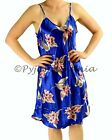 Pyjamas Ladies Silk Singlet Nightie PJs Blue Floral Sz 8 10 12 14 16