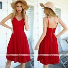 Sexy Womens Lady Summer Strappy Party Evening Cocktail Casual Mini Red Dress