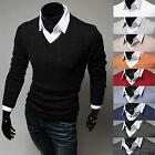Mens Premium Luxury Slim Fit V-Neck Basic Knit Sweater Jumper Top E302 - S/M
