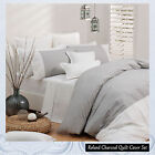 ROLAND Charcoal Pinstriped Quilt Cover Set by by Logan & Mason - QUEEN KING