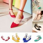 Ladies Sweet Pointed Toe Flats Casual Patent Leather Dating Ankle Strap Shoes UK
