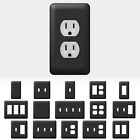 Black Metal Wall Switch Plate Outlet Cover Toggle Duplex Rocker - Enamel Finish