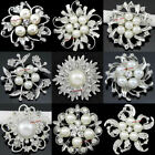 15-100 Bulk Silver Pearl Crystal Flower Brooch Pin Wedding Bouquet Wholesale Lot