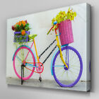 FL390 Flowers In Bicycle Basket Canvas Wall Art Multi Panel Split Picture Print