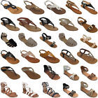 New Women Gladiator Sandals Shoes Thong T Strap Flat Size Strappy Flip Flops Toe