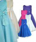 Girls Bow Diamante Occasion Wear Dress Flower Girl Party Wedding Formal Dresses