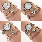 Womens Sweet Gold Plated Crystal Flowers Dress Watch Leather Quartz Wrist Watch
