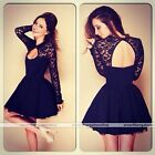 Sexy Womens Lady Long Sleeve Lace Bodycon Cocktail Evening Mini Black Dress