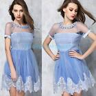 Sexy Ladies Women Casual Lace Clear Mesh Chiffon Bustier Summer Party Prom Dress