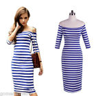 Womens Off Shoulder Blue&White Striped Fitted Stretch Bodycon Pencil Lady Dress