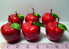 "Red Apple Decorative Tree Ornaments 2 3/4"" Lot of 6"