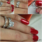 STERLING SILVER PRINCESS VTG STYLE CZ BRIDAL ENGAGEMENT WEDDING 2 RING SET S 5-9