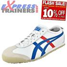 Onitsuka Tiger Mens Mexico 66 Vintage Leather Trainers White Blue * AUTHENTIC *